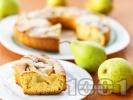 Рецепта Бърз сладкиш / кекс с масло, мляко, пресни круши, канела и ванилия